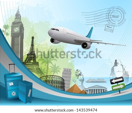 Travel background design with famous landmarks elements - stock vector