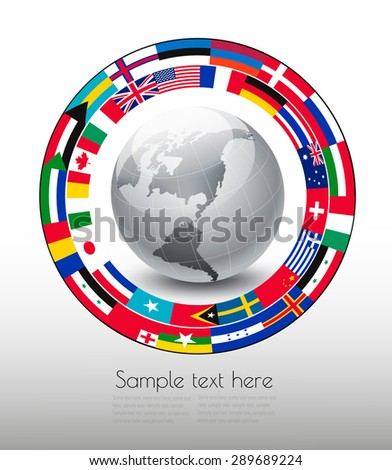 Travel background. Globe with a strip of flags. Vector. - stock vector