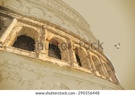 Travel background in vector format. Modern stylish painting with watercolor and pencil. Colosseum (Coliseum) in Rome, Italy. The Colosseum is an important monument of antiquity. - stock vector