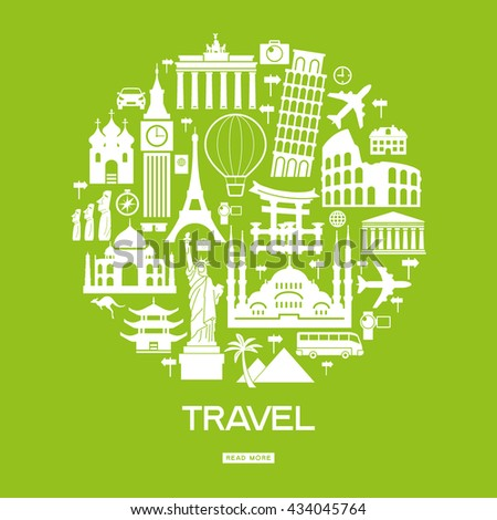 Travel background. Template with tourism, landmarks icons and text.  White symbol on a green background