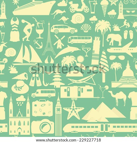Travel background. Vacations. Beach resort seamless pattern. Vector illustrations