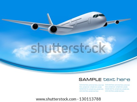 Travel background with airplane and white clouds - stock vector