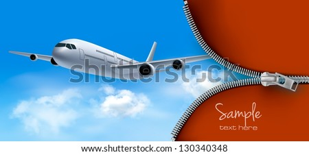 Travel background with airplane and white clouds. Vector - stock vector