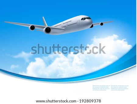 Travel background with airplane and white clouds. Vector. - stock vector