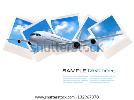 Travel background with airplane in front of photos of blue sky. Vector - stock vector
