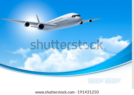 Travel background with an airplane and white clouds. Vector. - stock vector