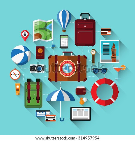 Travel background with icons of tourism, vacation planning, journey in holidays. Tourism and journey objects, items and passenger luggage. Flat design vector illustration background with long shadows - stock vector