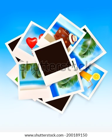 Travel background with vacation photos. Vector.  - stock vector