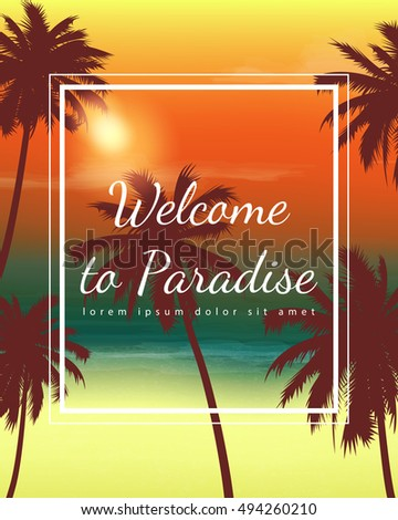 Travel Backgrounds with Palm Trees. Exotic landscape. Vector illustration