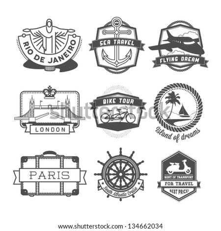 Travel badges set - stock vector