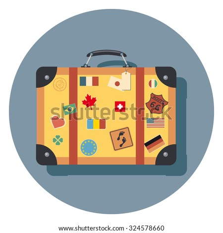 travel bag flat icon in circle - stock vector