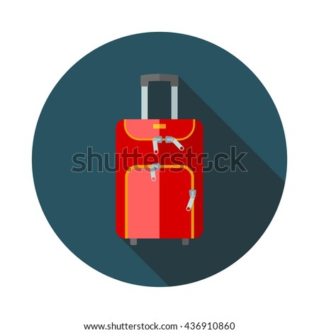 Travel bag flat icon with long shadows - stock vector