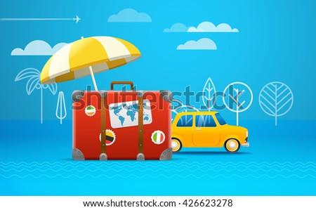 Travel bag vector illustration. Vacation concept. Retro car vacation - stock vector