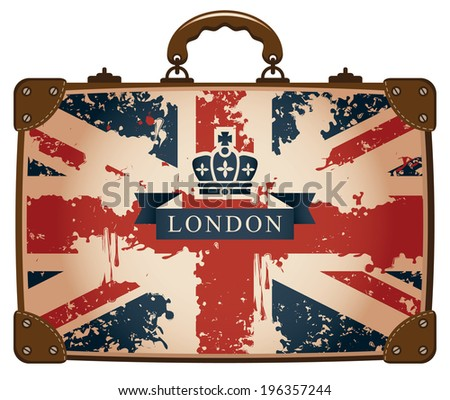 Travel bag with a British flag and crown - stock vector
