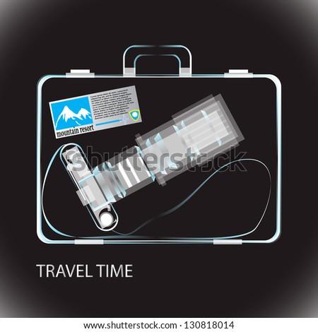 Travel bag x-ray photo - stock vector
