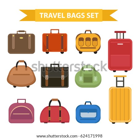 Travel bags icon set, flat style, isolated on a white background. Collection different suitcases, luggage. Vector illustration