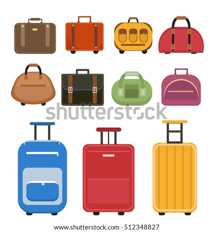 Travel bags icon set, flat style. Luggage travel bags set isolated on a white background. Set suitcases. Collection different bags, suitcases, luggage. Vector illustration