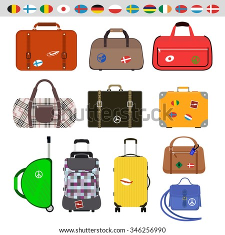 Travel bags vector illustration. Travel bags isolated on white background. Travel bags collection. Travel bags stickers, labels, flags. Different countries travel flags. Travel bags for traveling - stock vector