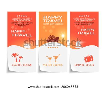Travel banner, poster, sticker, flyer, ticket vector design - stock vector