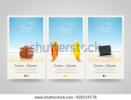 Travel banner set with surf, laptop, bag. Poster, flyer or ticket design. Beach background. Freelance or vocation. Vector illustration - stock vector