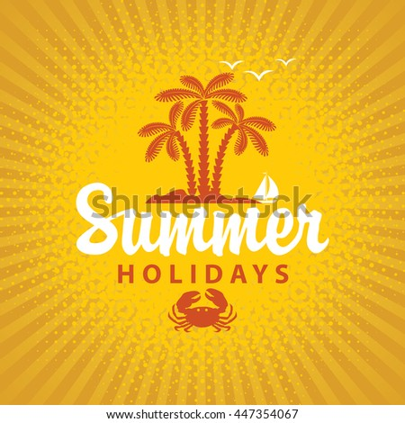 Travel banner summer vacation with island and palm trees on a yellow background