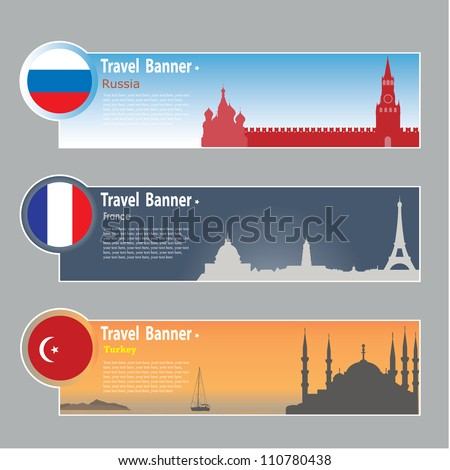Travel banners: Russia, France and Turkey - stock vector