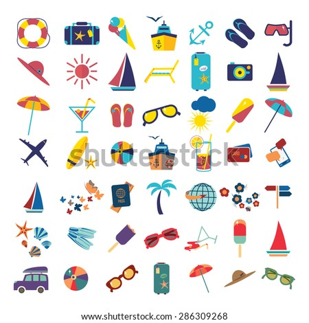 Travel beach flat calligraphy background. Flat design style modern vector illustration icons set of traveling on airplane, planning a summer vacation, tourism and journey objects and passenger - stock vector