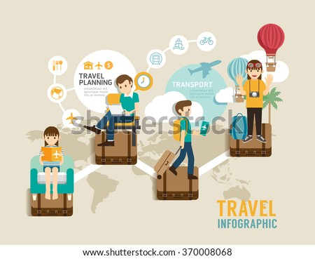 Travel board game flat line icons concept infographic step to world travel,vector illustration - stock vector