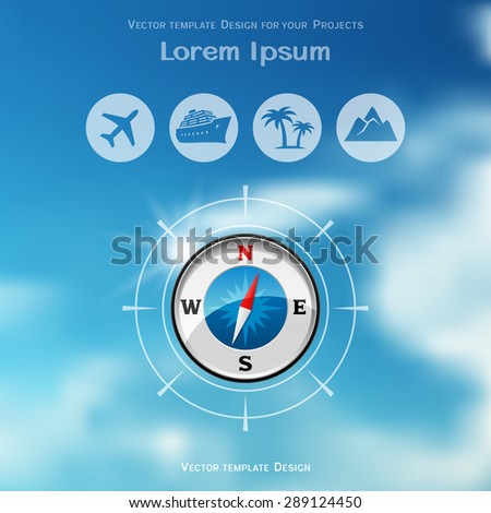 Travel brochure cover design with compass icon on blue sky blurred background - stock vector