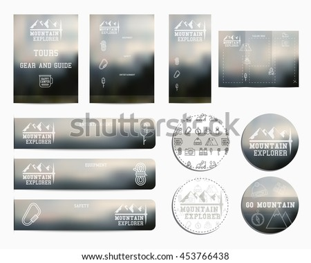 Travel business corporate identity with adventure outdoor design. Branding your camp company. Brochure. Mock up. Best for advertising campsites, mountain camp adventure sites. Vector. - stock vector