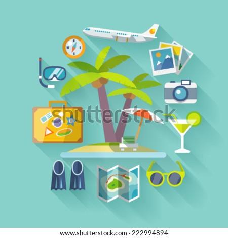 Travel business flat icons set. Vector illustration.Flat design elements. - stock vector