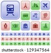Travel button set - stock photo