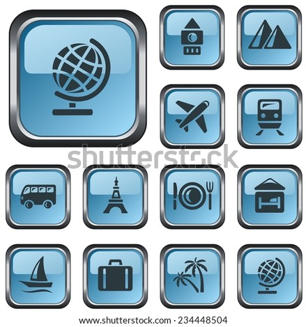 Travel button set - stock vector