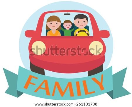 Travel by car with family - stock vector