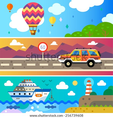 Travel by land, sea and air. Vector flat Travel by land, sea and air. Balloon, Jeep , Ship. Landscapes with mountains and sea. World of discovery. Vector flat  illustrations and background - stock vector