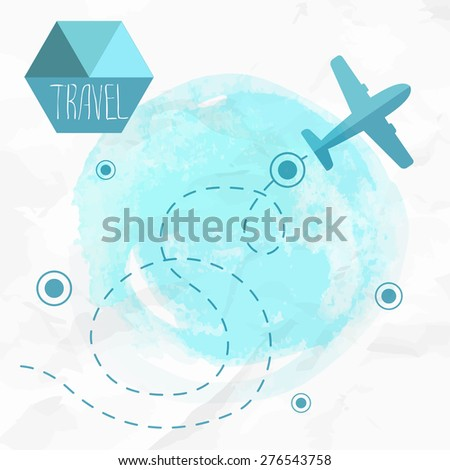 Travel by plane. Airplane on his destination route. Watercolor blue background and flat style airplane. - stock vector