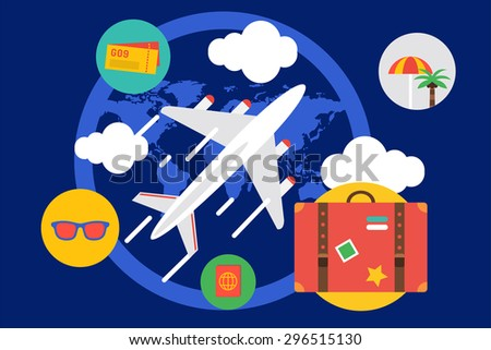 Travel by the plane vector illustration. Summer, Air and holiday symbols. Stock design elements - stock vector