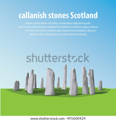 Travel Callanish Standing Stones. Travel and Famous Landmarks and beautiful.   . vector,illustration .