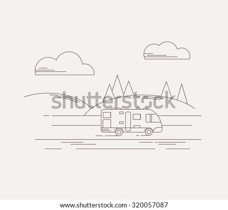 Travel camper on a road. Vector travel illustration in linear style