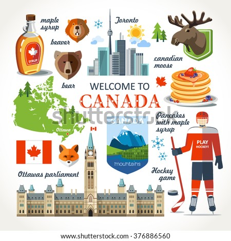 travel Canada traditional objects - stock vector