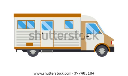 Travel car family vacation and journey travel orange car. Travel car with bicycle tourism luggage. Family vacation on minivan car and bicycle. Travel by car flat summer vacation vector illustration. - stock vector
