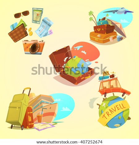 Travel cartoon set with map luggage and transport symbols on yellow background  isolated vector illustration  - stock vector