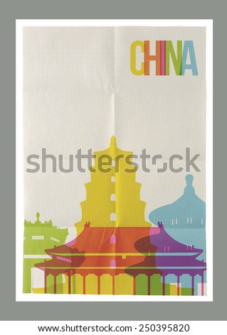 Travel China famous landmarks skyline on vintage paper sheet poster design background. Vector organized in layers for easy create your own website, brochure or marketing campaign. - stock vector