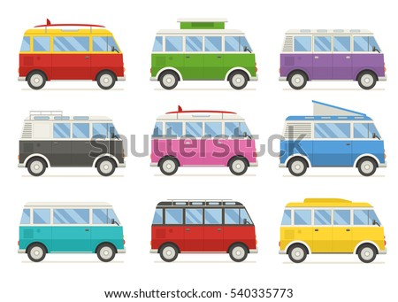 Travel Classic Minivan In Different Colors Cartoon Camping Bus For Family Summer Trip Rv