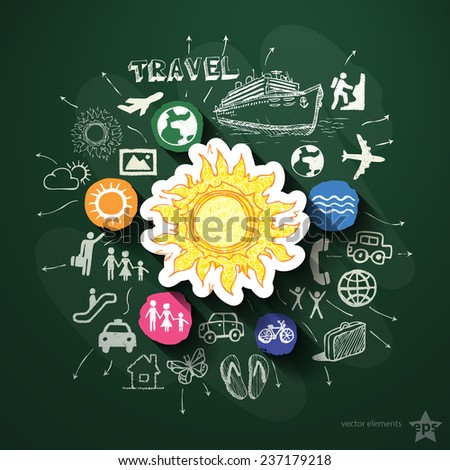 Travel collage with icons on blackboard. Vector illustration
