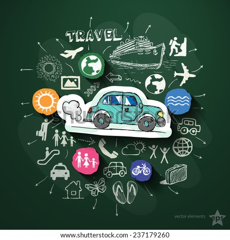 Travel collage with icons on blackboard. Vector illustration - stock vector