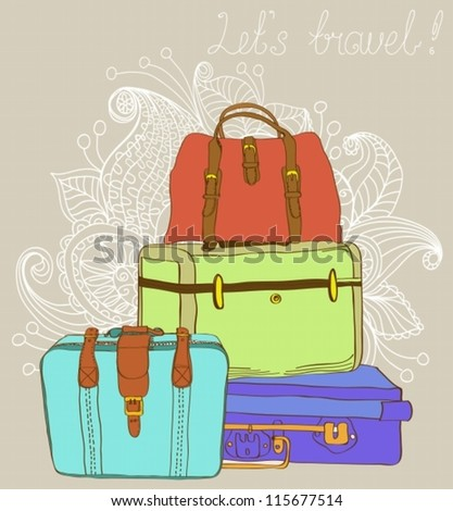 Travel color Suitcases Background, illustration,vector - stock vector