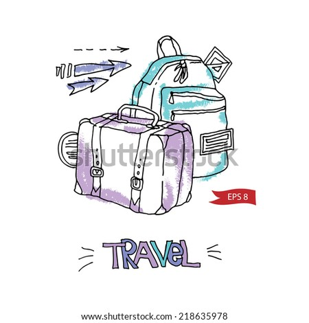 Travel color vector suitcases background, illustration, design template for card