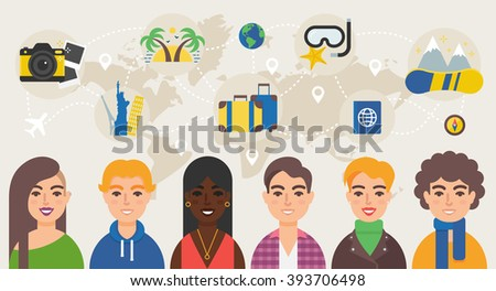 Travel community vector illustration - stock vector