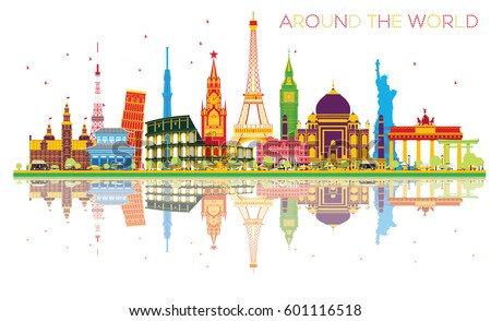 India Skyline Vector Illustration Imagem Vetorial De Banco ...